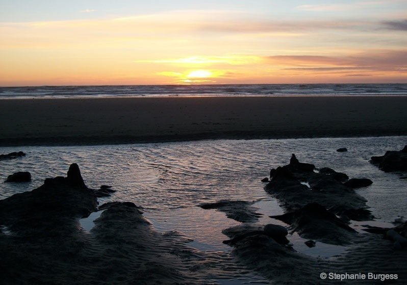 sunset at Submerged Forest, Borth Beach