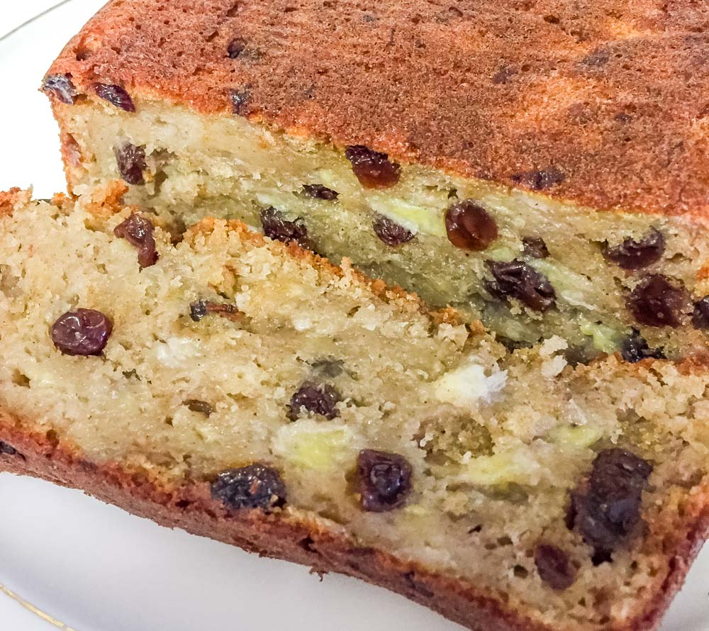 served banana loaf with sultanas