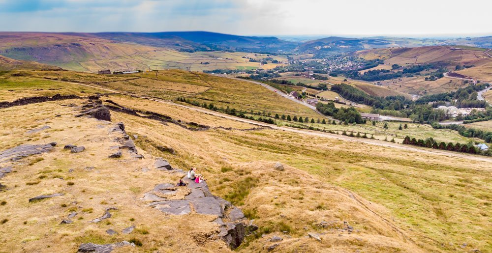 DJI_0067 A Family Walk Up Standedge - Overlooking Saddleworth