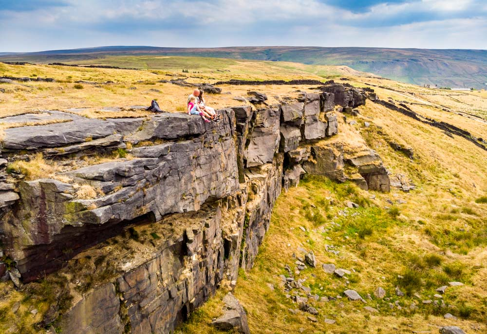 DJI_0085 A Family Walk Up Standedge - Overlooking Saddleworth
