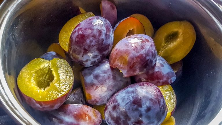 Plums, washed and stoned