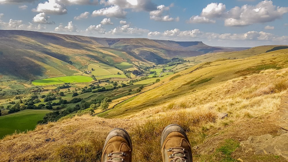 Taking-a-breather-Snake-Pass-in-the-Valley Alport Castles Walk – Derbyshire Peak District