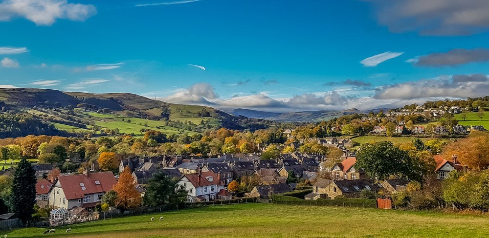 Hathersage-Village-from-the-a6187 Walks Beside Burbage Brook and Padley Gorge - Peak District