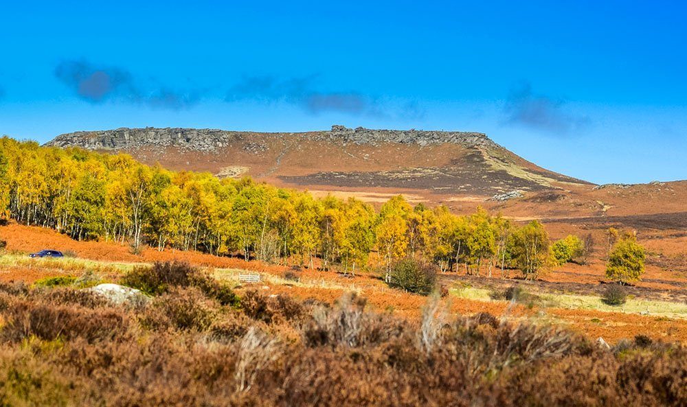 View-toward-Carl-Wark_ Walks Beside Burbage Brook and Padley Gorge - Peak District