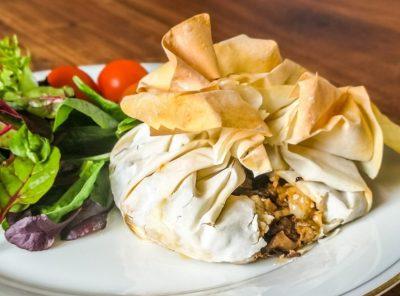 Vegetarian Onion and Mushroom Filo Parcels