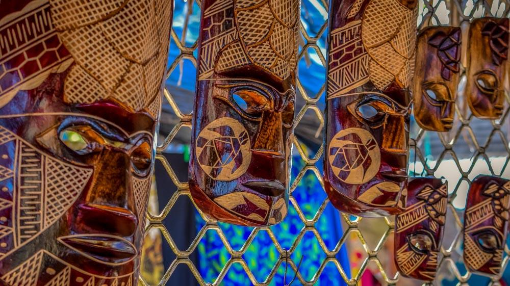 Raro-Market-masks Rarotonga, Cook Islands - Pacific Paradise