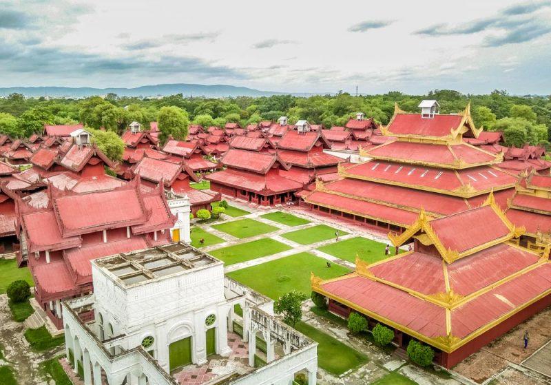 Aerial shot of Mandalay Palace, Myanmar