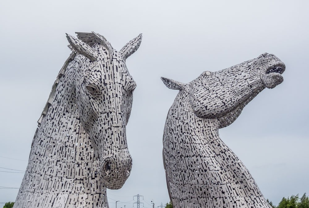 viewing the kelpies from the front