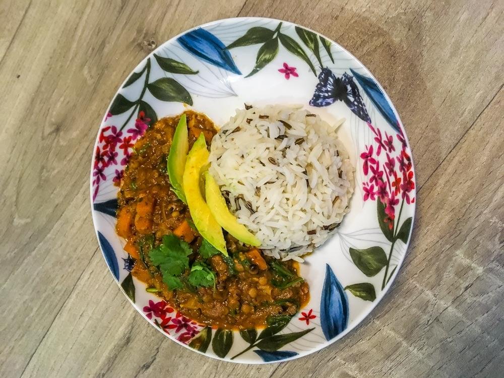 served lentil curry