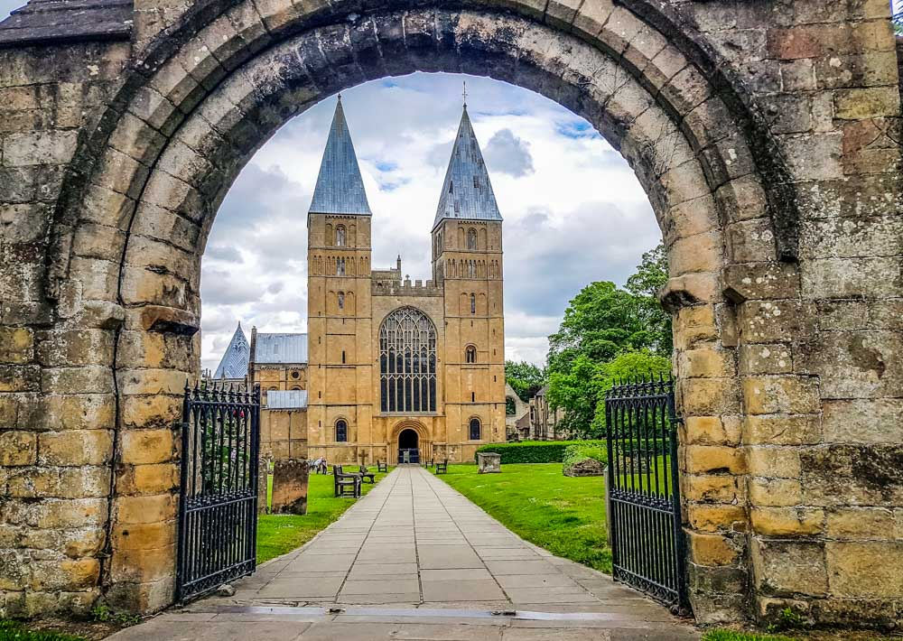 Southwell minster through arch
