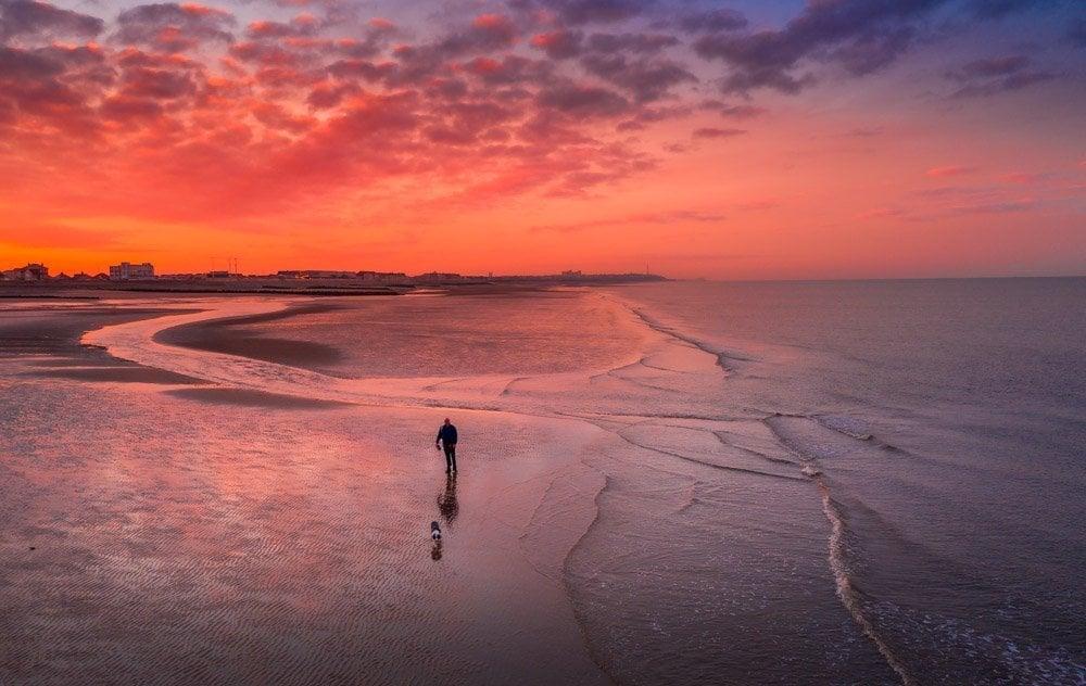 DJI_0577 Cleveleys & Rossall Beach, Sunrise & Sunset Dog Walks