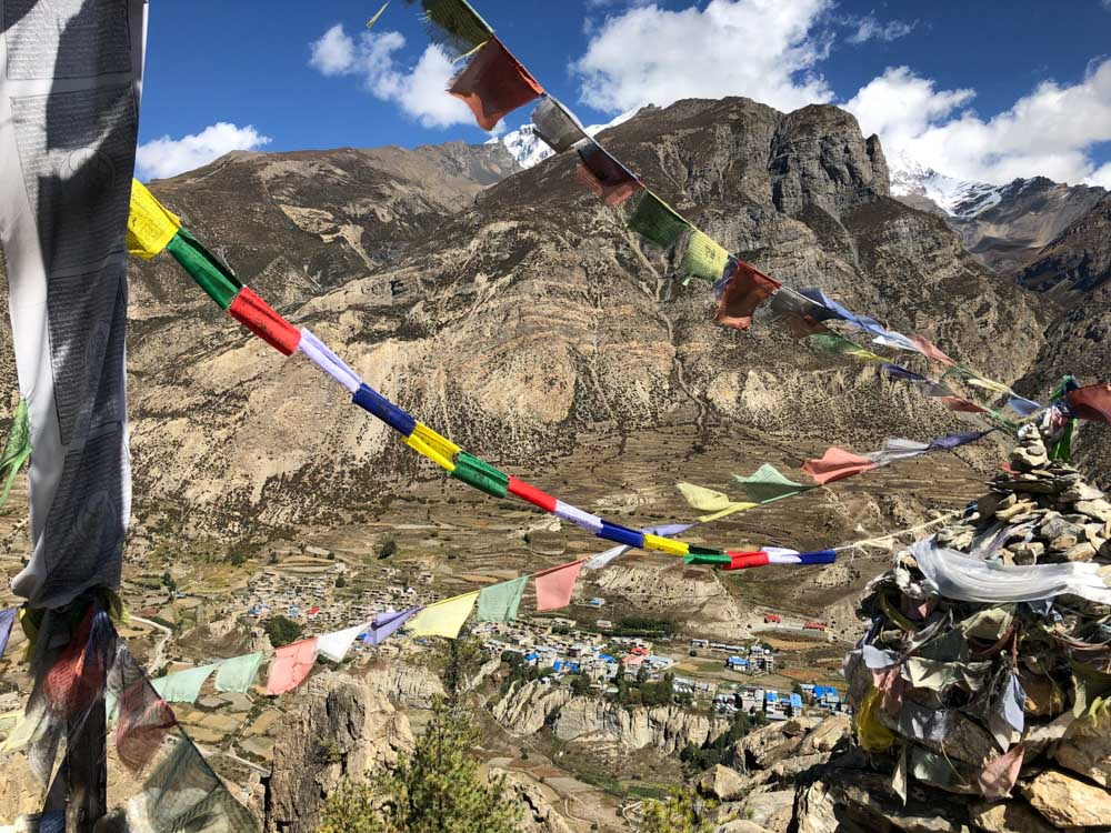 Looking-down-on-Manang Annapurna Circuit, Nepal - Part II: Apple Pie to Beyond Acclimatisation