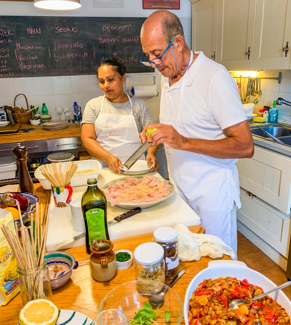 Louisa and Marco cooking class