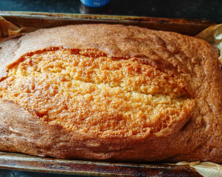Almond cake hot from the oven