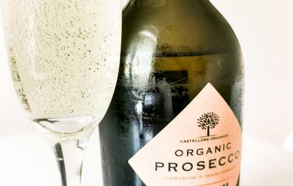 organic prosecco bottle and glass