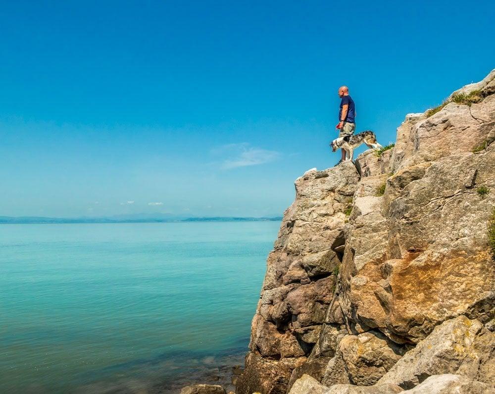 standing Heysham cliffs