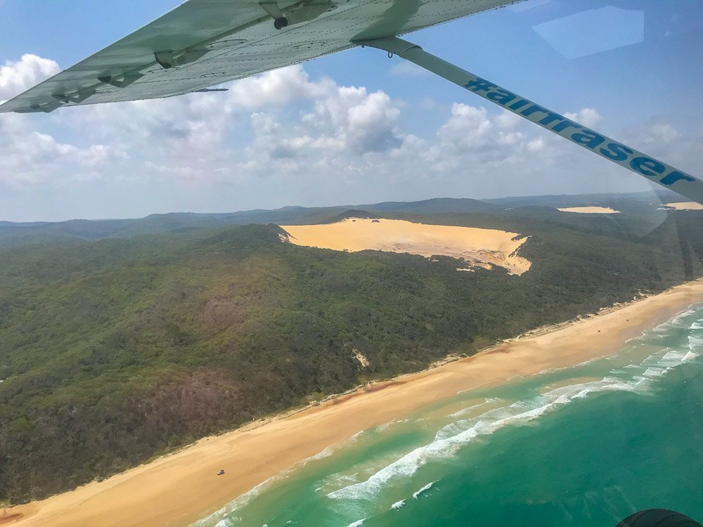 looking down on fraser island