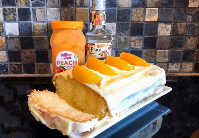 Peaches and Cream Loaf Cake - A Boozy Recipe