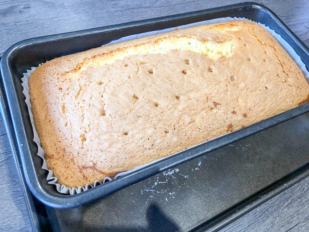 Once the cake is a little cooler in the tin