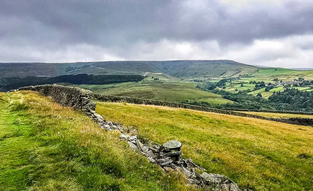 view down to Holmfirth on Holme valley way
