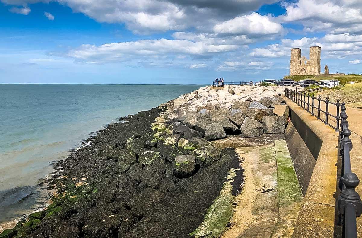 sea dams by reculver tower