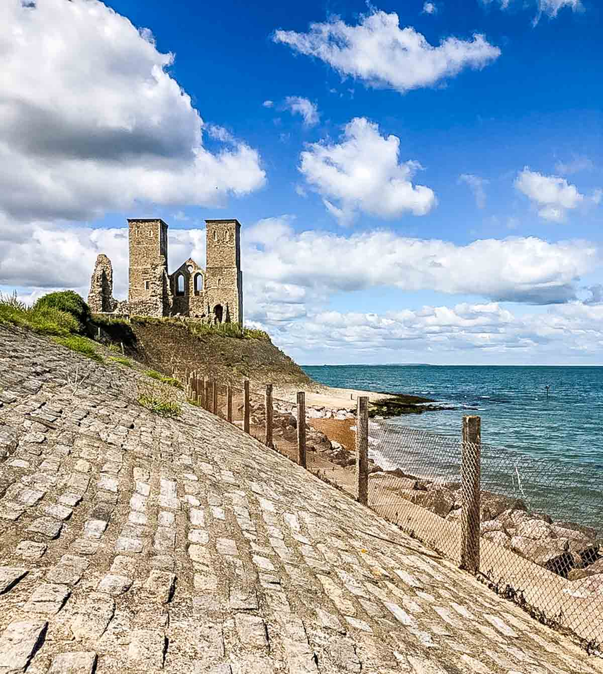 sea wall and reculver towers