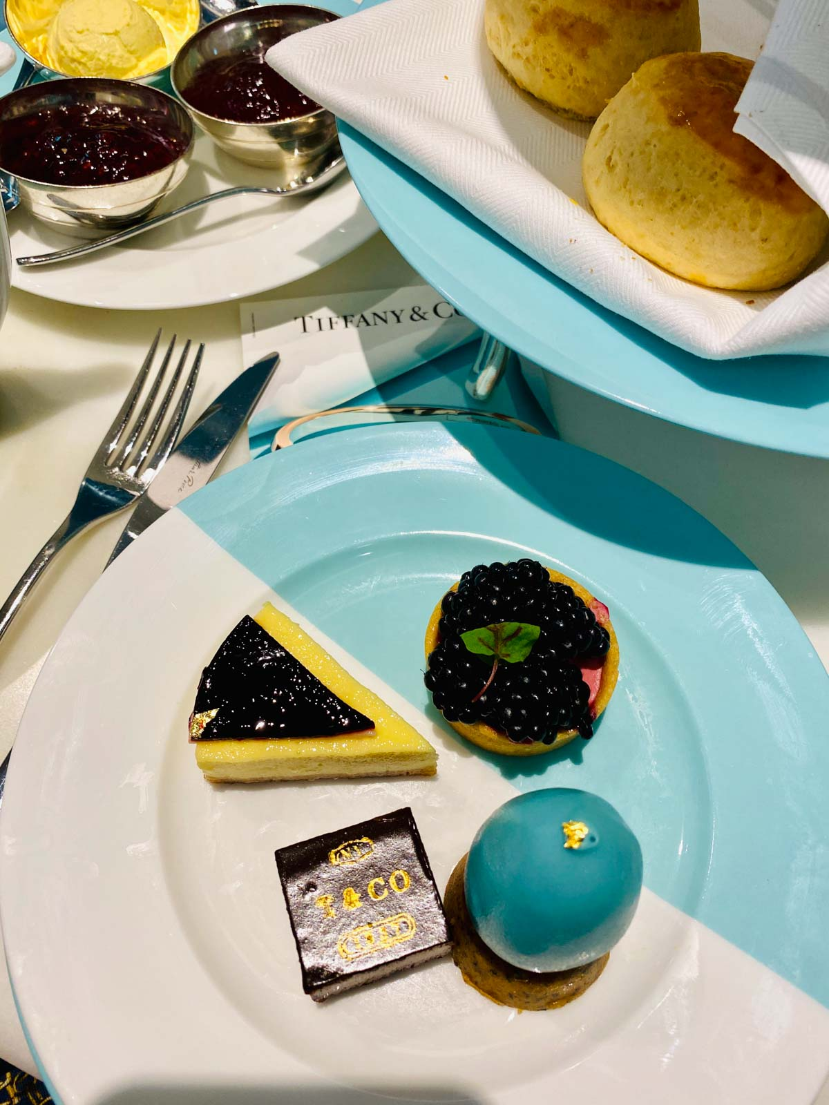 afternoon-tea-laid Afternoon Tea at Tiffany's Blue Box Cafe, Harrods