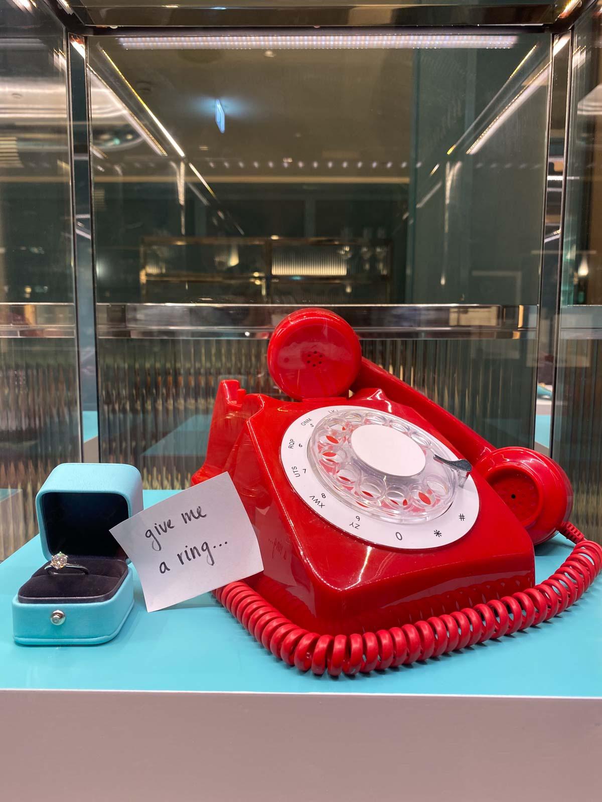 red phone at tiffany's harrods