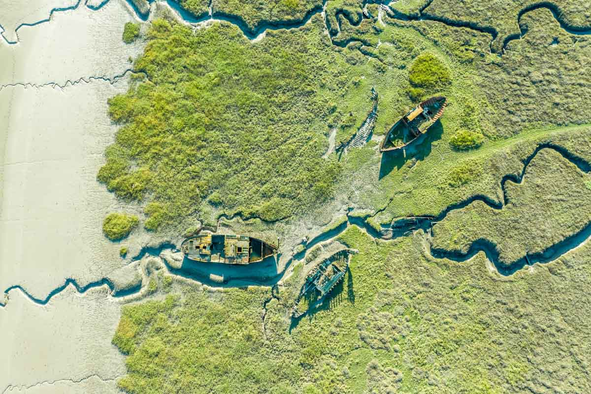 wrecks-from-above Walks Along The Wyre Estuary of Lancashire