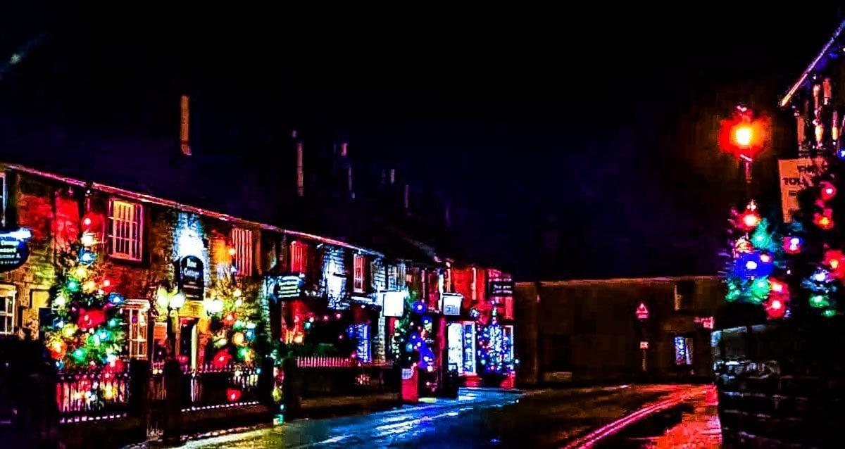 coloured lights of historic castleton