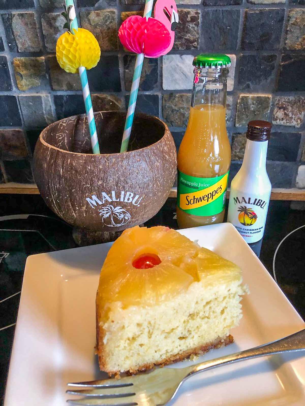 served pineapple upside down cake