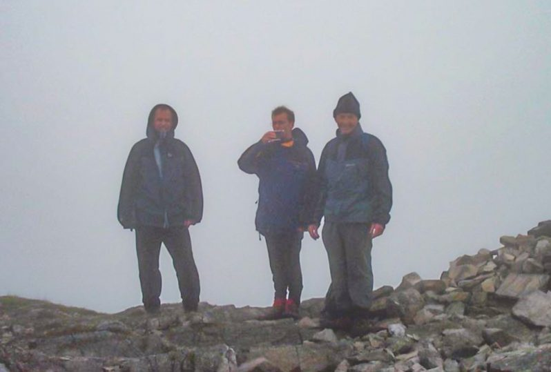celebration at top of Stob Ban