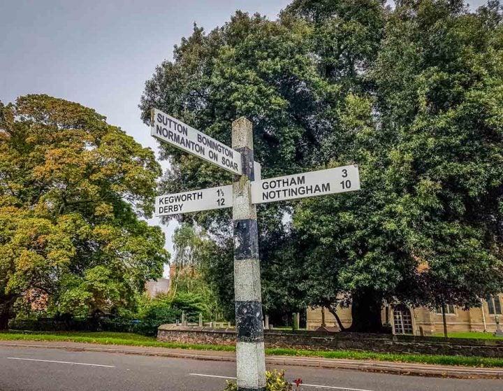 Signage showing Nottingham, Gotham, Kegworth and Sutton Bonnington