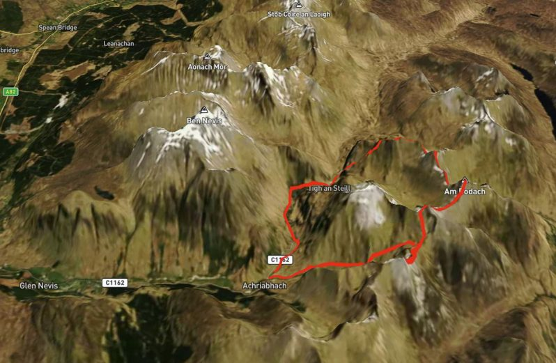 Ring of Steall route map