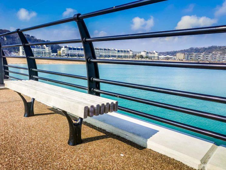 bench on Dover marina pier