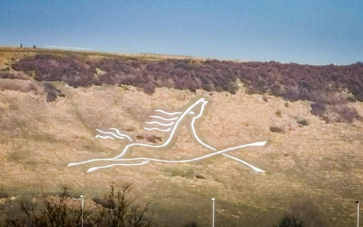 chalk white horse on Cheriton Hill