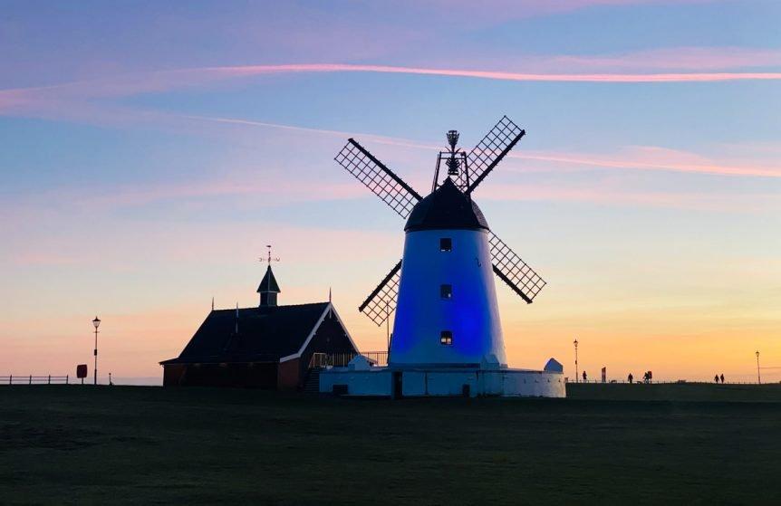 lytham windmill at sunset