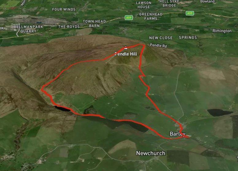 map pendle hill walk