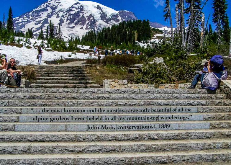John Muir quote parking lot stairs