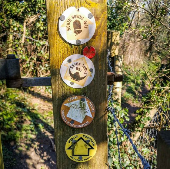 walking signs on the Folkestone Downs