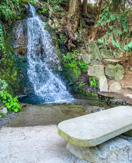 bench with waterfall