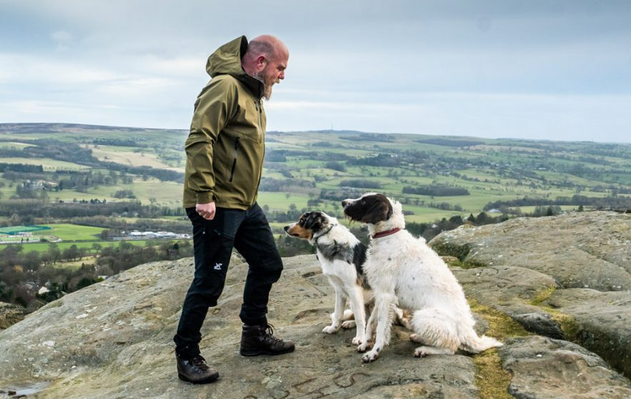 dogs and hiking gear
