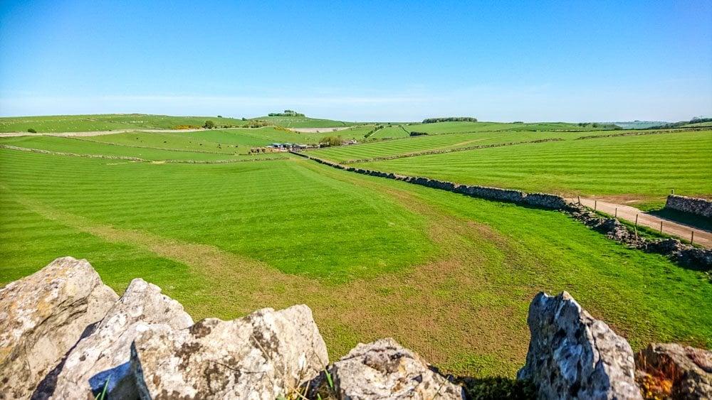 Limestone walls and open fields peak district