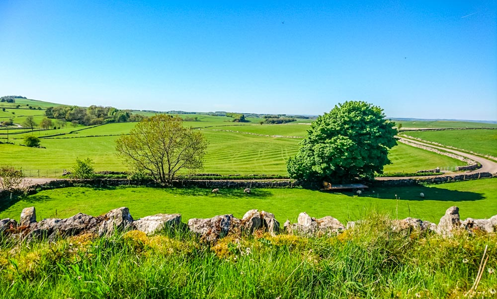 Open fields and stone walls