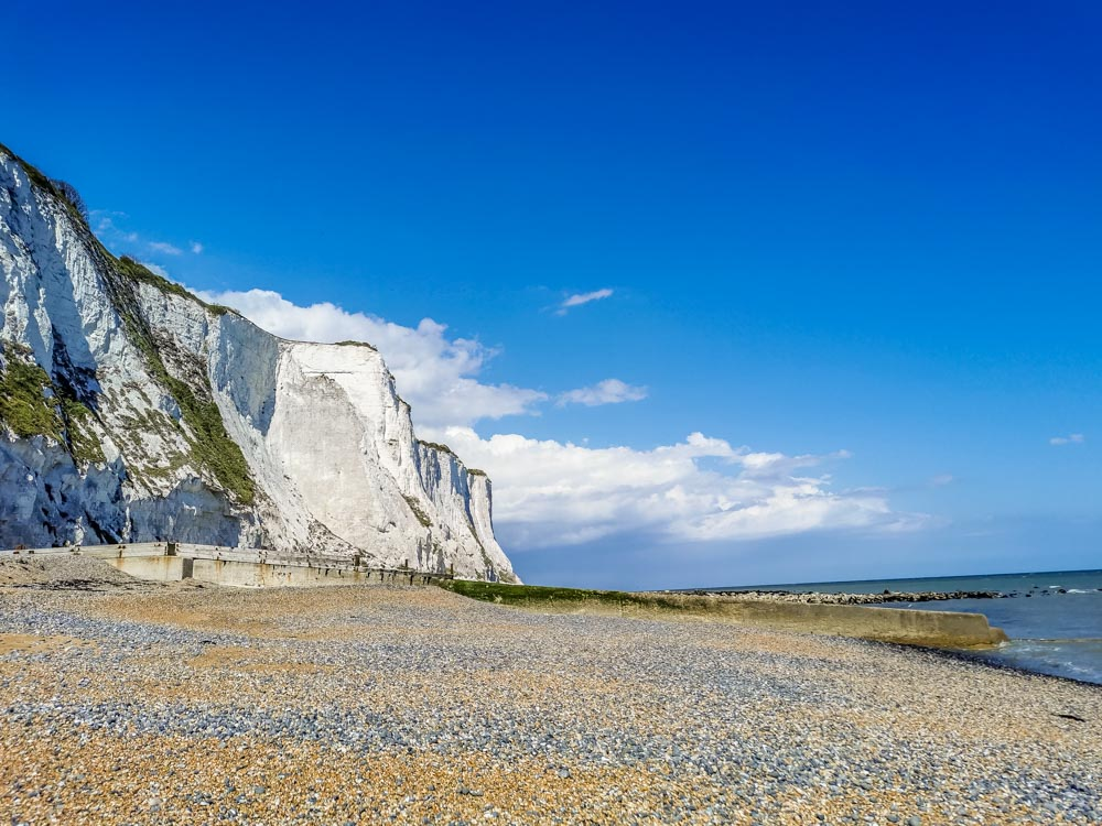 cliffs and beach at St Margarets Bay