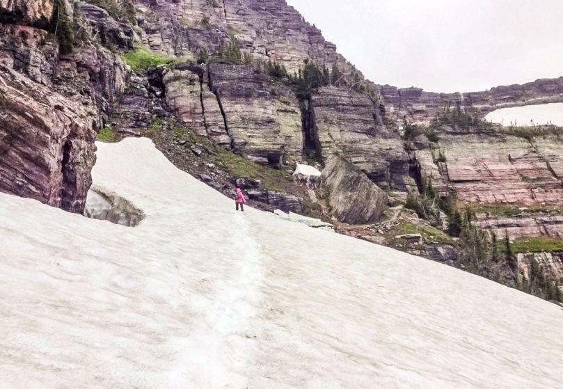crossing snowfield toward Sperry Glacier