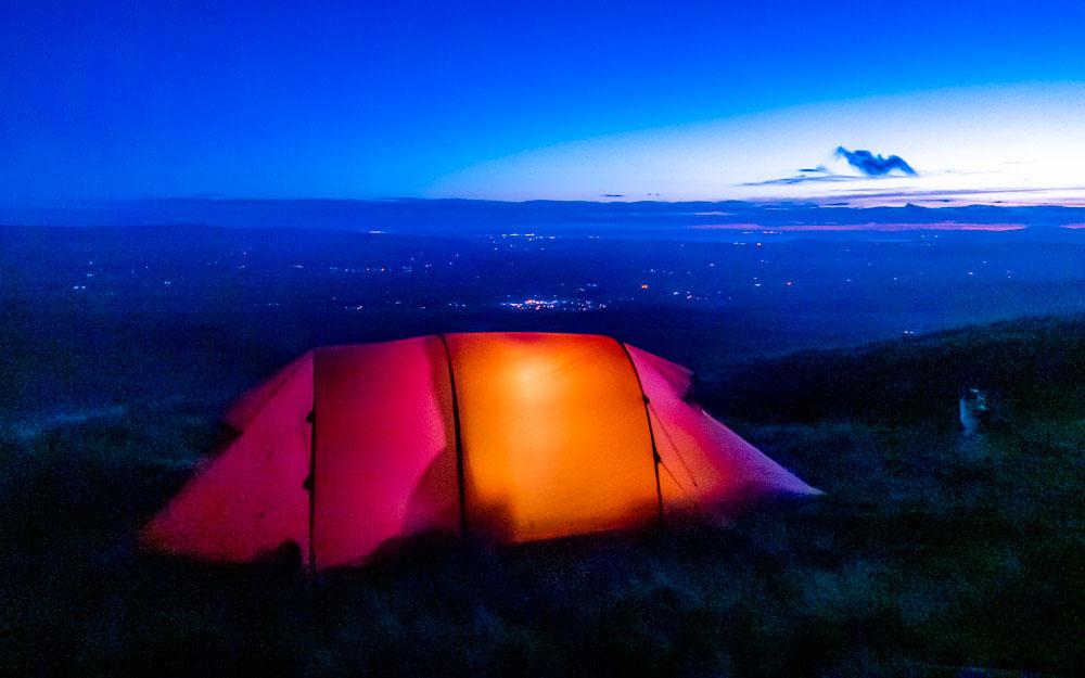 tent lit up