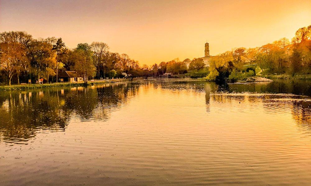 Highfields boating lake at dusk