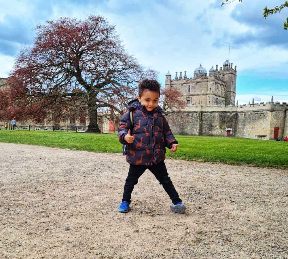 Grandson enjoys the castle grounds