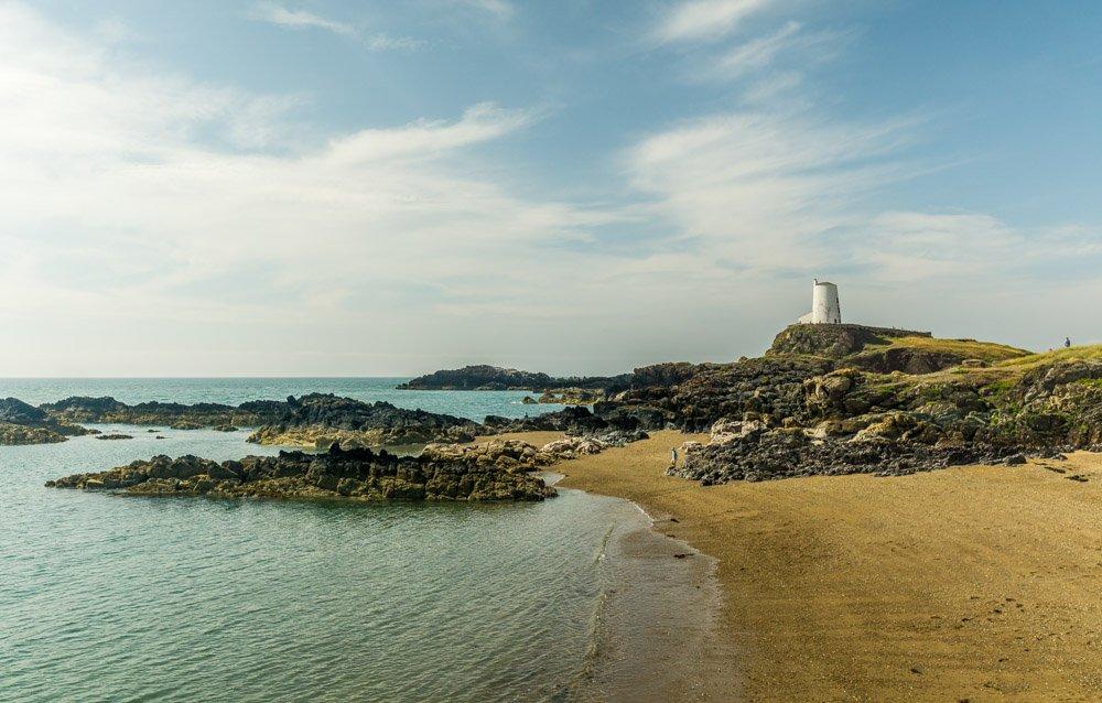 Twr Mawr lighthouse and beach
